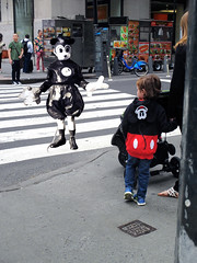 Past and Present Mickey Mouse Kid 41118 (Brechtbug) Tags: street new york city nyc halloween st vintage mouse costume kid disney mickey semi ave type present circa walt past 7th 31st 1939 2015