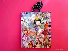 Doll and doll and cat (* Cludia Helena * brincadeira de papel *) Tags: brazil brasil mixedmedia canvas papermache papiermach cludiahelena 16x22cmquadro