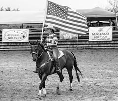 Proud! (nclcocco) Tags: people blackandwhite horse usa monochrome canon hawaii flag july americanflag kauai hi cowgirl 2014 pacificislands 5dmkiii canon5dmarkiii 5dmarkiii punahoapoint nclcocco nicolacocco