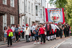 Durham Miner's Gala (Cerdic Elesing) Tags: red england clothing durham unitedkingdom object banner performing hats marching gala tuc countydurham minersgala bigmeeting durhamminersassociation kodakektar xequals wingatelodge