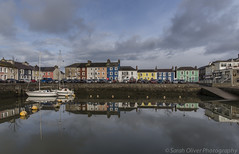 Colourful reflections (SarahO44) Tags: uk bridge houses sea sky beach wales clouds canon buildings reflections river boats rocks stream view bright unitedkingdom harbour united under kingdom pebbles yachts ceredigion 6d aberaeron