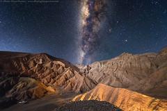 Roads of light into the Death Valley (Alberto Ghizzi Panizza) Tags: chile sanpedro atacama deathvalley desert night lights milkyway stars road path mountains sanpedrodeatacama