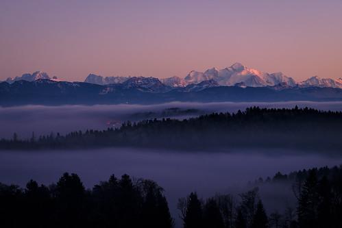 Last 2016 sunset on Mont Blanc