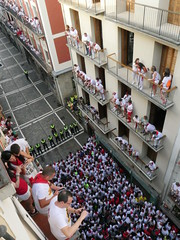 8 o clock each morning during San Ferminas, people gather to run with the bulls.