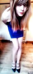 Blå (Steph Angel) Tags: steph angel stephangel cd crossdress tranny trans transvestite gender girl feminine female femme tgirl legs longlegs stockings tights dress bluedress minidress hair longhair makeup pretty beauty heels highheels shoes