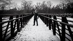 Apocalypse Warrior (Billy Woolfolk) Tags: olympus omd em1 bridge annarbor sword katana apocalypse snow winter gasmask オリンパス m43 microfourthirds 刀 武士 橋 雪 アナーバー ミシガン州 autofocus