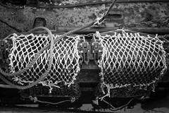 Netted (Foto John) Tags: leicam240 leicam leica leicamtyp240 rangefinder summicronm50mmƒ2iv blackwhite blackandwhite blackandwhitethatsright monochrome nets boat plymouth uk fishingboat