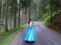 Bye-bye (Paula Satijn) Tags: satin silk shiny gown dress skirt girl lady forest blue elegant beauty ballgown classy outdoor nature girly feminine tgirl transvestite woods trees silver pumps heels smile tranny