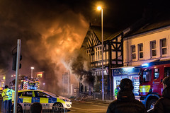 Little Sutton Charity Shop Fire, January 3rd 2017 (Rob Pitt) Tags: little sutton charity shop fire january 2017 a41 ellesmereport police engines cheshire wirral