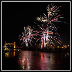 Fireworks_9177 (bjarne.winkler) Tags: 2016 new year evening pre fireworks 9pm backdrop tower bridge ziggurat calstrs building sacramento river ca