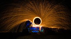 Supernova (neal1973) Tags: wirewool sparks burning longexposure long exposure umbrella danger orange blue night dark abbey ruins man