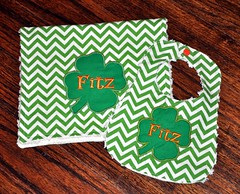 Green Chevron Shamrock Burp Cloth and Bib Set (preciousnprosper) Tags: burp cloth bib chevron shamrock