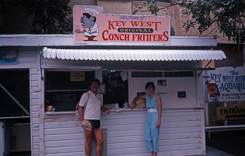 Willie and Deb having Conch in Key West, Florida