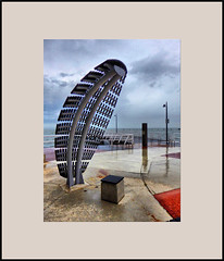Schorncliffe art work (agphoto100) Tags: schorncliffe brisbane sandgate peir jetty tz60 water qeensland beach sea art sculpture metal rain wet agphoto100
