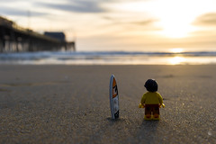 The surfer (Ballou34) Tags: 2016 7dmark2 7dmarkii 7d2 7dii afol ballou34 canon canon7dmarkii canon7dii eos eos7dmarkii eos7d2 eos7dii flickr lego legographer legography minifigures photography stuckinplastic toy toyphotography toys stuck plastic 2017 surfer beach sand waves water shore newport newportbeach california étatsunis us united states usa sun sunset ocean pacific