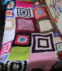 Crochet Granny Square Patch Work Blanket. By Sharron Wilcock (sharronwilcock) Tags: original friends work square google artist sampler designer handmade crochet free craft style yarn made plus colourful patch granny crocheted patterned crocheting googleplus
