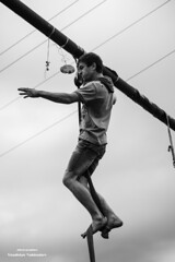 The Winner (svetlo_vsem) Tags: life blackandwhite holiday monochrome nikon russia outdoor competition rope victory swing national finish winner d750 rise oiled the reporting kbr kabardians 8518g