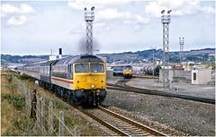 47xxx. Passing Longrock depot. 1989. (Alan Burkwood) Tags: long rock penzance cornwall class47 nse livery depot diesel locomotive