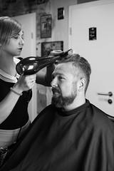 Markus I Salon Artifex #5 (Eera Photography) Tags: blackandwhitephotography blackandwhite monochrome 50mm hairdressingsalon osnabrück barbershop barber hairdressers hairstylist beard rockabilly rockabillystyle retro vintage