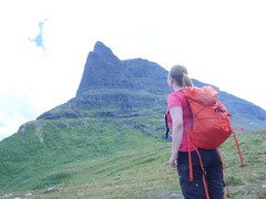 Anette looking up at Innerdalstårnet (1452m)!