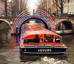 Lovers Boat at Rainbow Bridge - Amsterdam (Gilli8888) Tags: amsterdam canal water boats holland netherlands canalboat lovers bridge archbridge rainbow lights loverscanalcruises