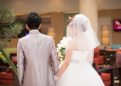 Bride and groom walking in hotel lobby (Apricot Cafe) Tags: img14130 20s asianethnicity canonef70200mmf28lisiiusm chiba japan japaneseethnicity narita beauty bouquet bride ceremony cerenity charming cheerful communication couple dress enjoying formal groom happiness holdinghands hotel indoors lobby man party portrait togetherness twopeople walking wedding weddingdress woman youngadult naritashi chibaken jp