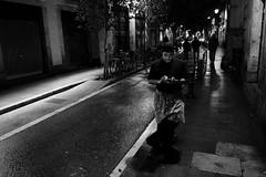 Chef Having a Break (sebastienvillain) Tags: barcelona barcelone spain espagne xseries xe2 fuji fujifilm streetphoto streetphotography bw nb noiretblanc blackandwhite cook cuisinier restaurant street rue smoke smoking fume fumant cig cigarette portable phone téléphone break pause man homme xf18mm chef
