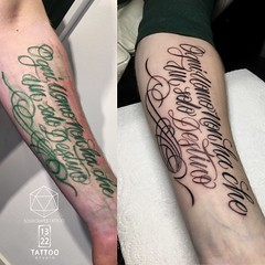 Freehand Quote Tattoo 2 (13.22 Tattoo Studio) Tags: sourgrapes tattoo 1322 studio london custom queens park north nw6 west artist bespoke family jungle vegan friendly best original unique freehand sharpie drawn script font letterring italian quote flourish pinstriping chicano italic swirly fancy writing red ink