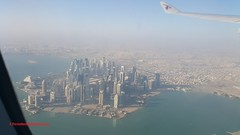 Doha City towers from Airplane after take off from Hamad Int'l Airport, Qatar (Feras.Qadoura) Tags: doha city towers take off hamad international airport أبراج ابراج مدينة الدوحة دولة قطر