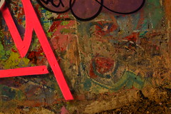 y (Di's Free Range Fotos) Tags: graffiti wall oldskool originals brightonoriginals scrapedbackpaint time peeling paintflakes colour spraycanart writers documenting brighton uk y gary pink white letters fragments