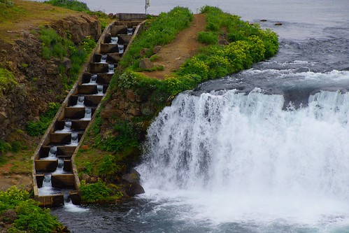 Stairs for salmons on the Hvitá river, at the Faxafoss