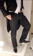 white-tie-shower-1_10300161124_o (shinydressshoes) Tags: tails tailcoat tuxedo suit muddy gunge wet shiny shoes shinyshoes leather patent dressshoes groom wedding whitetie frack formal shower lackschuhe lackschuh