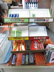 vintage Wrigley's gum rack (stoneofzanzibar) Tags: candyracks wrigleys wrigleysgum wrigleysspearmint juicyfruit doublemint bigred reeses milkyway snickers twix hersheys kitkat winterfresh