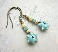 Blue Star Earrings (Di's jewellery) Tags: earrings stars czechglass blue handmade folksy
