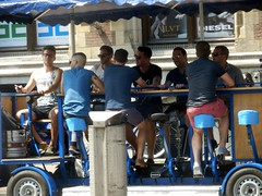 Sitting on the Beer Bike (Quetzalcoatl002) Tags: blue party tourism beer amsterdam drinking cart blokes pedalling beerbike bierfiets