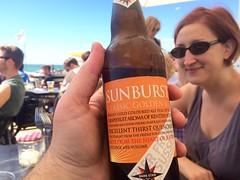 Having post-kayaking refreshment on the beach.