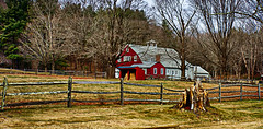 The-Red-Barn (desouto) Tags: nature hdr landscape trees barn fence grass sky color autumn leaves wildfilowers road forest rivers wildflowers clouds snow