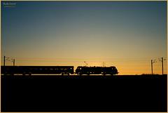 Skoda Sunset (Resilient741 Photography) Tags: dusk sunset silhouette silouette train darkness orange sun set landscape ecml east coast main line trains rails rail railway railways rare dbc db class 90 driver jack mills 90036 mk4 coaching stock balderton claypole electric loco locomotive br british