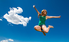 A cloud and a jump.  Happy Love to Leap Thursday! (Flickr_Rick) Tags: outside woman strong girl blond spring jump jumping jumpology happylovetoleapthursday