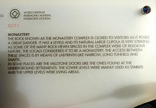Zelve - open air museum - the monastery info board