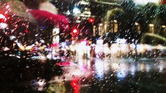 Bright lights, Wet city (Georgie_grrl) Tags: lights ttc streetcar commute wet rainy winter yucky weather spadinaavenue toronto ontario commutehome patterns traffic explore