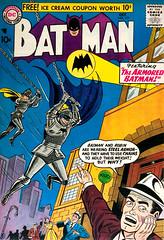 Batman #111 (1957), cover by Sheldon Moldoff (Tom Simpson) Tags: batman 1957 cover sheldonmoldoff robin thedarkknight comics 1950s vintage art illustration batsignal knight armor suitofarmor platemail