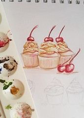cupcake1f (lilac-girl90) Tags: pink food art love cake illustration design spring artwork acrylic mood candy photos sweet chocolate iraq drawings cupcake icecream baghdad draw watercolors happytime كيك فن رسومات عراق رسم بغداد