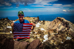 Happy 4th! (chasing_adventure29) Tags: park mountain volcano flag 4th peak packers national crater summit greenbay 4thofjuly independenceday lassen usflag greenbaypackers packerhat gopackgo packersonmountains