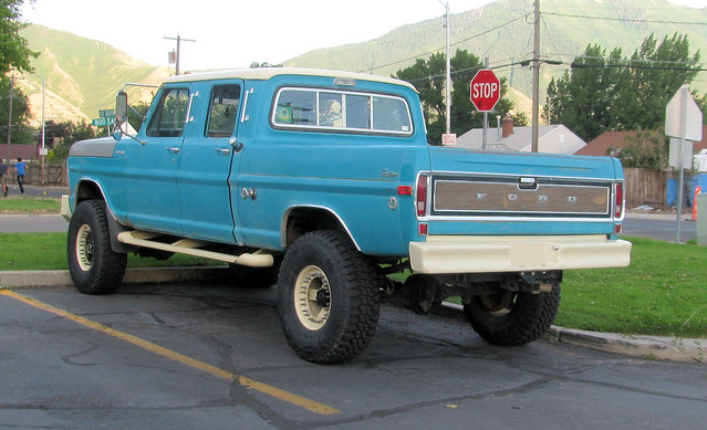 old blue classic ford truck vintage 4x4 pickup pickuptruck vehicle 1970 1970s madeinusa americanmade fourwheeldrive heavyduty fomoco f250 4door crewcab highboy 34ton oddpanel eyellgeteven