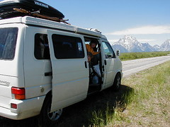 Shady Boy Awning on a VW EuroVan 071204 Grand Tetons WI