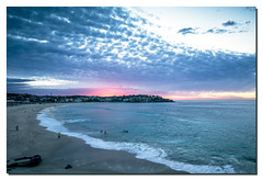 Pre Sunrise - 6:45AM - Bondi Beach - Sydney (fiston22) Tags: ocean pink blue beach water bondi clouds sunrise canon eos sand colorful slow surfer sydney wave australia 5d australie markiii