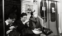 Strangers on a train (DameBoudicca) Tags: tokyo tokio  japan nippon nihon  japn japon giappone shiba   hamamatsuch hamamatsuchstation   yamanoteline  railway jrnvg eisenbahn ferrocarril chemindefer ferrovia  tg train zug tren treno  kvinna frau femme woman mujer donna  man mann varn homme uomo  passenger passagier passagerare pasajero passager passeggero  student elev schler pupil alumno lve allievo    bag mobilephone suit schooluniform