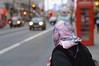 SC Strand 21dec16 (richardbw9) Tags: london uk england westminster city street urban londonstreetphotography senior seniors seniorcitizen seniorportrait seniorcity winter grey strand headscarf pink red redlights phonebox callbox telephonebox phonebooth publictelephone taxi