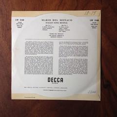 Backside Mario del Monaco - Italian Song Recital, Orch. Ernesto Nicelli, Decca LW 5168, 10 inch, 1960 (Piano Piano!) Tags: mariodelmonacoitaliansongrecital orchernestonicelli deccalw5168 10inch 1960